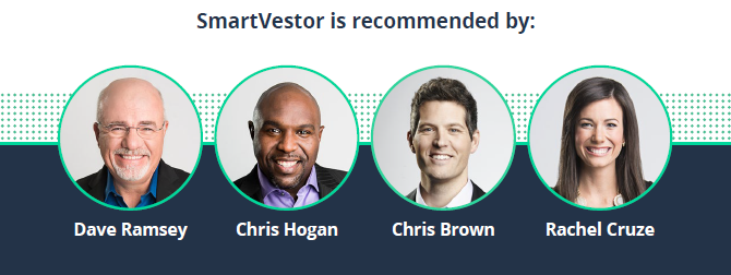 SmartVestor recommended by Dave Ramsey, Chris Hogan, Chris Brown, Rachel Cruz.
